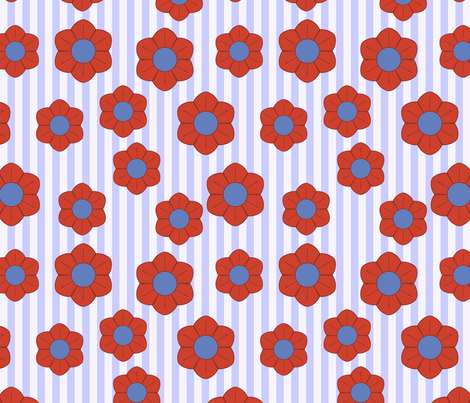 red and blue flowers fabric by suziedesign on Spoonflower - custom fabric