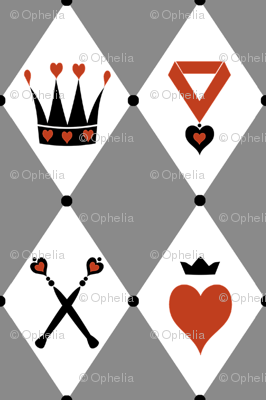 Queen of Hearts Motifs Grey White