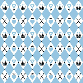Queen of Hearts Motifs Blue White
