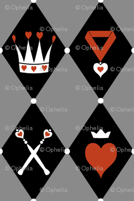Queen of Hearts Motifs Grey Black