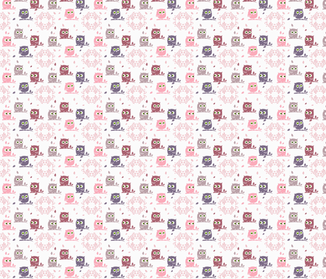 Owls pink  fabric by halix on Spoonflower - custom fabric