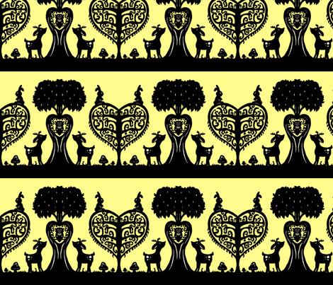 Woodland Cutout (Black and Yellow) fabric by jmaranez on Spoonflower - custom fabric
