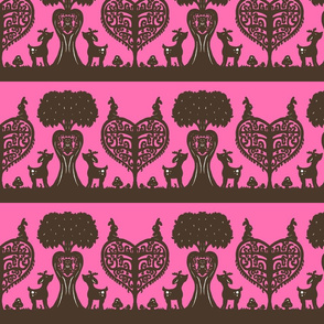 Woodland Cutout (Brown & Pink)