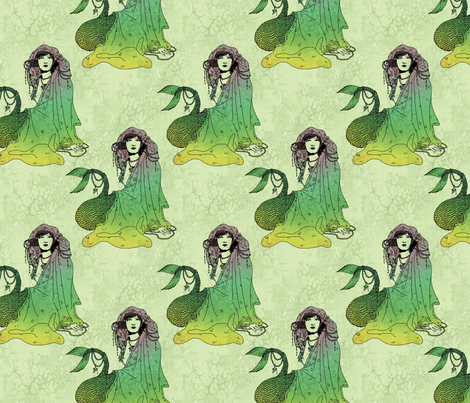 Mermaid (green tint) fabric by ophelia on Spoonflower - custom fabric
