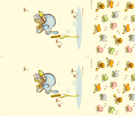 Buzzing Bog- Elephant and All fabric by flyingtreestudios on Spoonflower - custom fabric