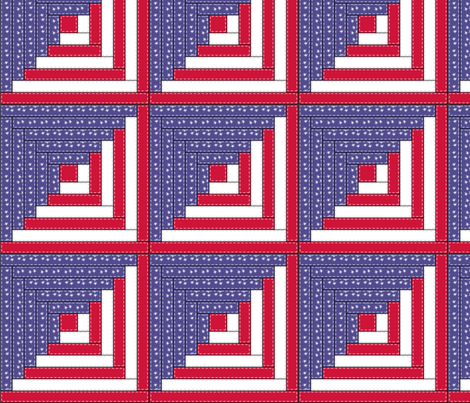 Patriotic Log Cabin - logcabin4 fabric by leighlu on Spoonflower - custom fabric
