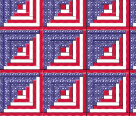 Patriotic Log Cabin - logcabin4 fabric by leighlu on Spoonflower - custom fabric