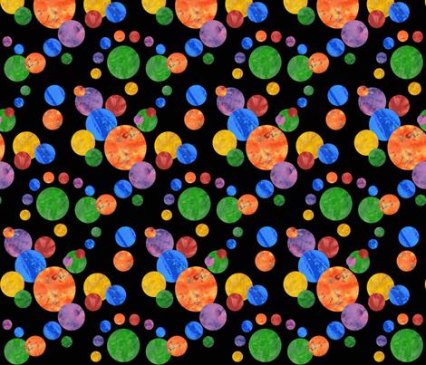 Batik Polka Dot on Black fabric by amy_lou_who on Spoonflower - custom fabric