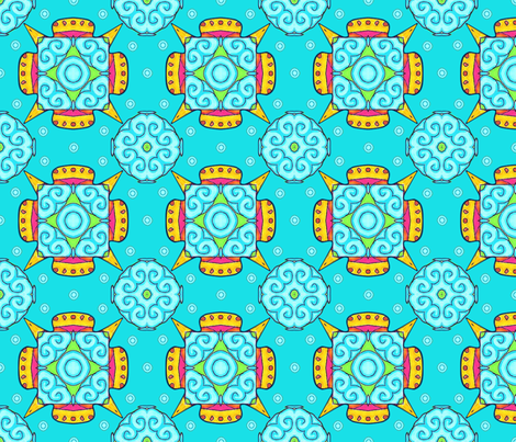Aqua and Yellow Foulard fabric by periwinklepaisley on Spoonflower - custom fabric