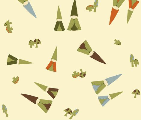 Large Tumbling Peg Gnomes fabric by weefolkart on Spoonflower - custom fabric