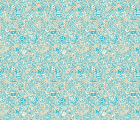 Blue Doodle fabric by calamitystudios on Spoonflower - custom fabric