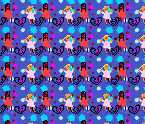 girls_hearts fabric by sewdiva on Spoonflower - custom fabric