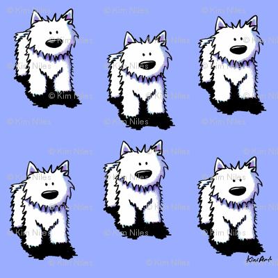 Westie Dog on Blue