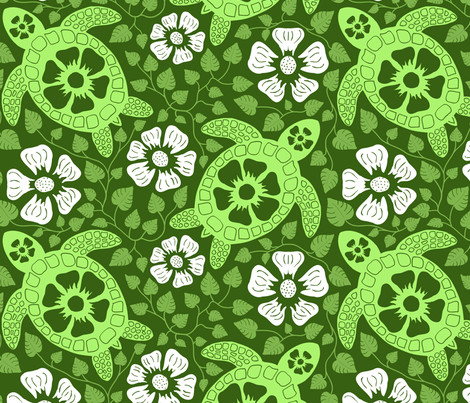Hawaiian Turtles And Flowers In The Greens Of The Garden Isle Fabric By  Coloroncloth On Spoonflower