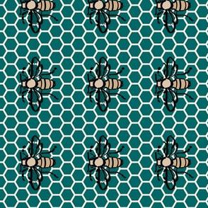 Honeybee-honeycomb-green