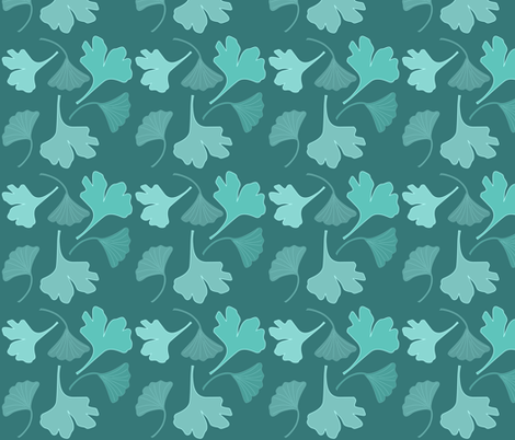 GINGKO fabric-2c greens on dark-teal fabric by mina on Spoonflower - custom fabric