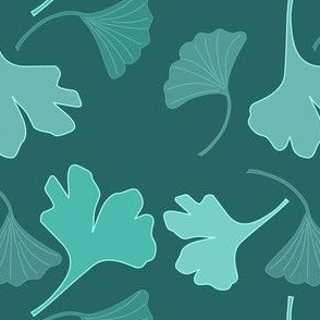 GINGKO fabric-2c greens on dark-teal