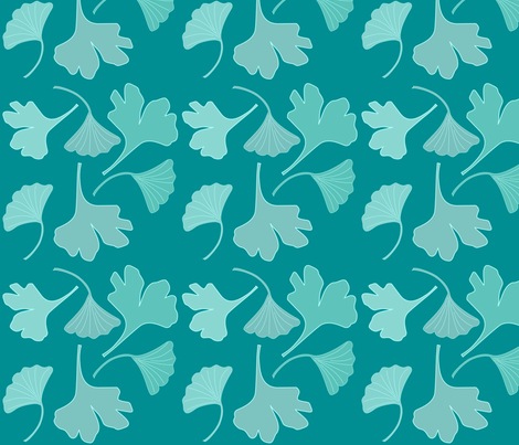 GINGKO-fabric-2j-BLGRN fabric by mina on Spoonflower - custom fabric