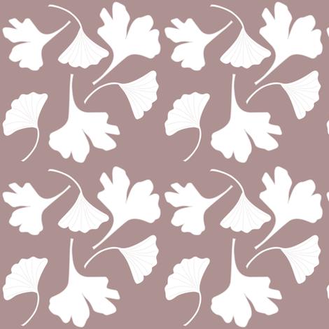 GINGKO-fabric-wht-BRN fabric by mina on Spoonflower - custom fabric