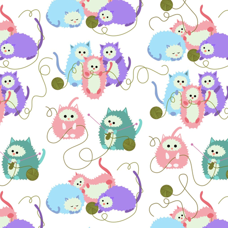 Three Little Kittens Who Lost Their Mittens fabric by vo_aka_virginiao on Spoonflower - custom fabric