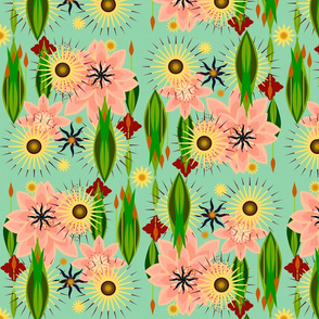 16in floral shapes 1 panel