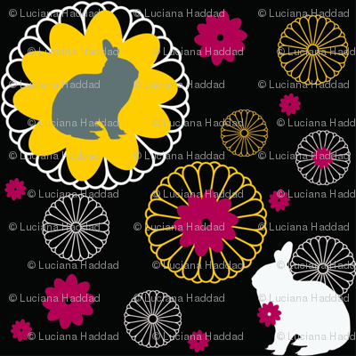 Rabbit Mandalas Black