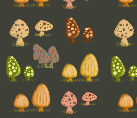 Mushrooms Dark Background fabric by cherie on Spoonflower - custom fabric