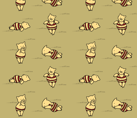Pig___Beach_Cranberry_Tan fabric by bard_judith on Spoonflower - custom fabric