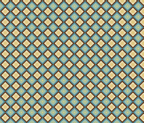 blue and brown flowers fabric by suziedesign on Spoonflower - custom fabric