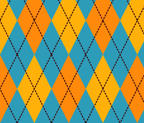 blue yellow argyle fabric by suziedesign on Spoonflower - custom fabric