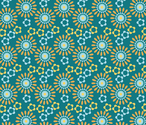 yelllow and blue flowers fabric by suziedesign on Spoonflower - custom fabric