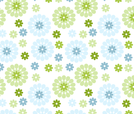 blue and green flowers fabric by suziedesign on Spoonflower - custom fabric