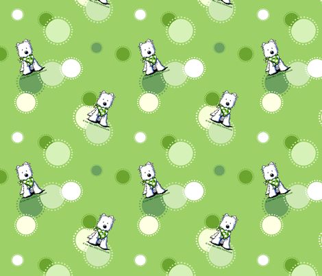 Green Dots Westies  fabric by kiniart on Spoonflower - custom fabric