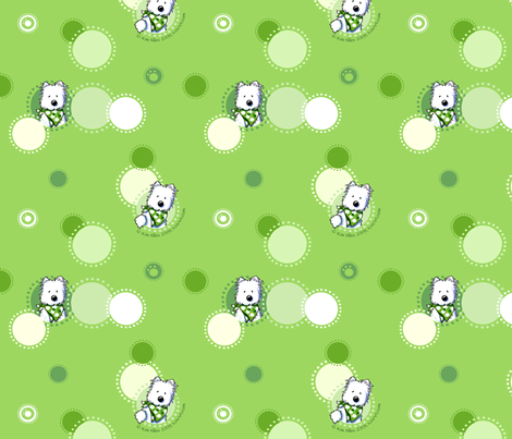Growing Green Westies fabric by kiniart on Spoonflower - custom fabric