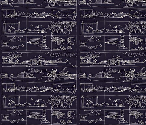children_in_grid-navy-white-sm-ed-ed fabric by robiniahill on Spoonflower - custom fabric