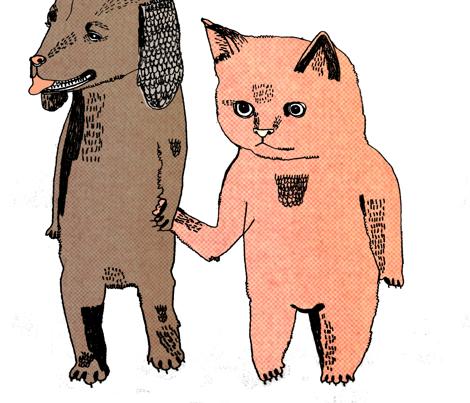 catanddog_restored_copy fabric by juliapott on Spoonflower - custom fabric