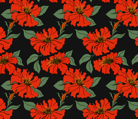 Red Petunias fabric by dragonfly on Spoonflower - custom fabric