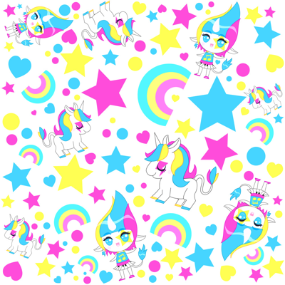 Kawaii rainbow unicorn pattern fabric katbrunnegraff for Space unicorn fabric