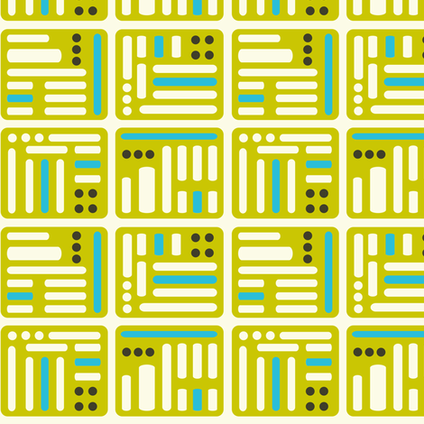 Techtron - Vintage Abstract Geometric Green & Aqua fabric by heatherdutton on Spoonflower - custom fabric