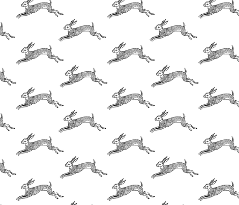 Inky Hare fabric by smallstitch on Spoonflower - custom fabric