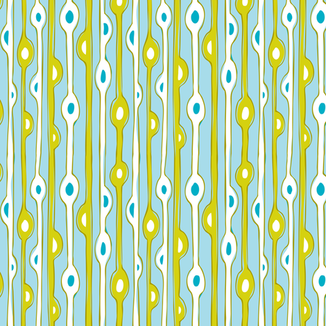 Seaweed Strand - Abstract Nautical Stripe Aqua Blue  fabric by heatherdutton on Spoonflower - custom fabric