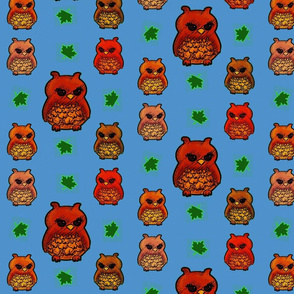 Owls and leaves