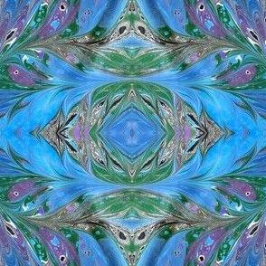 Mirrored Marbling Blue Green