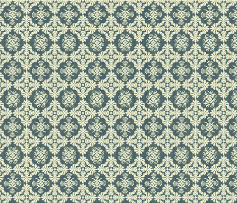 navy damask fabric by cottageindustrialist on Spoonflower - custom fabric