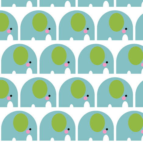 Elephant Motif Blue fabric by aliceapple on Spoonflower - custom fabric