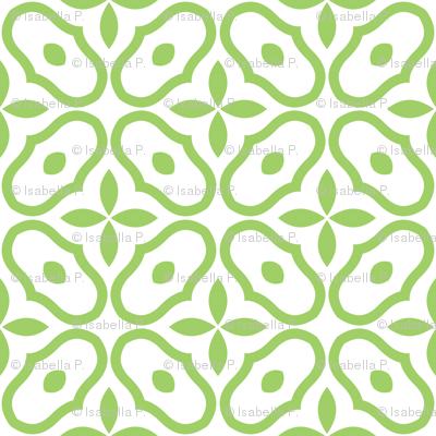 Mosaic - White and Leaf Green