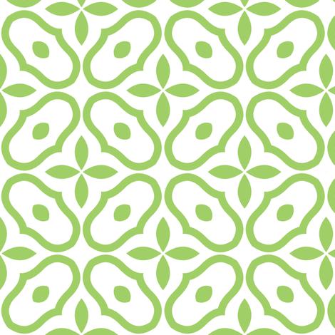 Mosaic - White and Leaf Green fabric by inscribed_here on Spoonflower - custom fabric