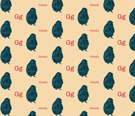 G is for Gelada fabric by maile on Spoonflower - custom fabric