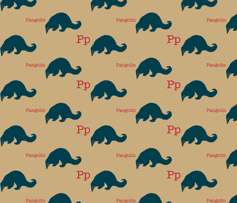 P is for Pangolin fabric by maile on Spoonflower - custom fabric