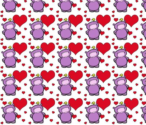 I Heart Hippos fabric by ljonte on Spoonflower - custom fabric